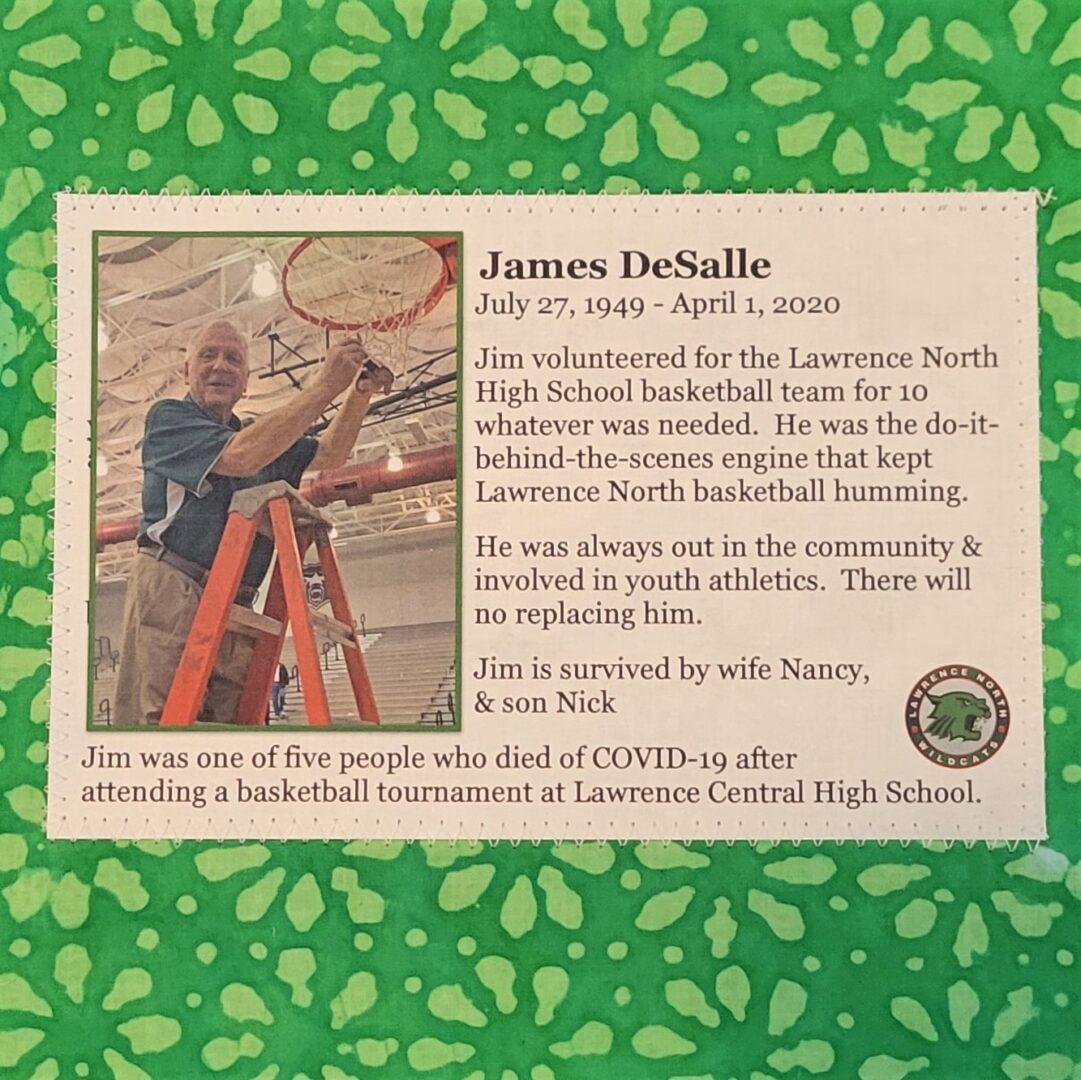 IN MEMORY OF JAMES DeSALLE - JULY 27, 1949 - APRIL 1, 2020