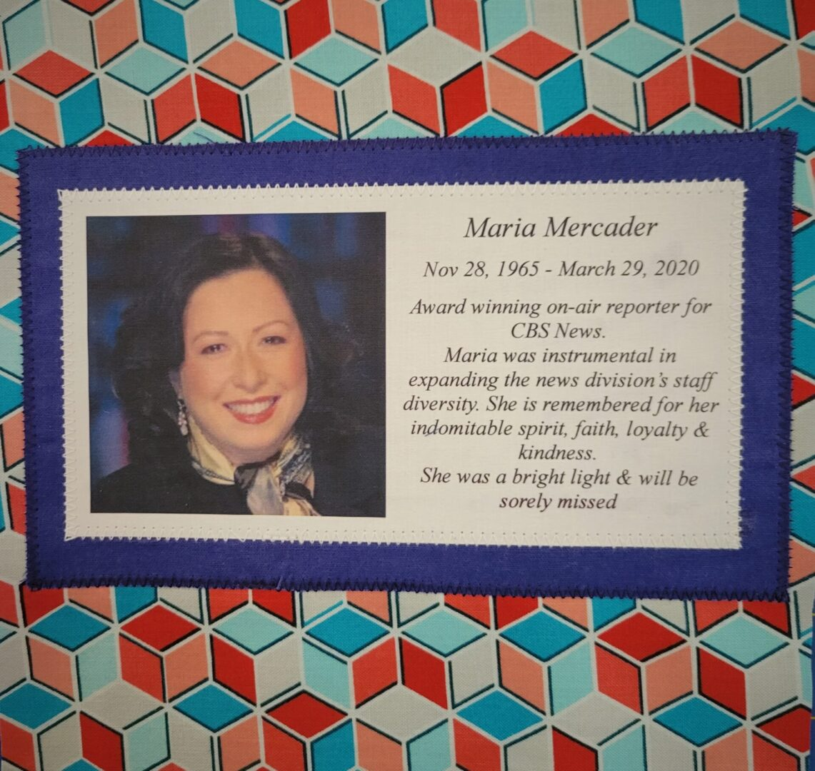 IN MEMORY OF MARIA MERCADER - NOVEMBER 28, 1965 - MARCH 29, 2020.