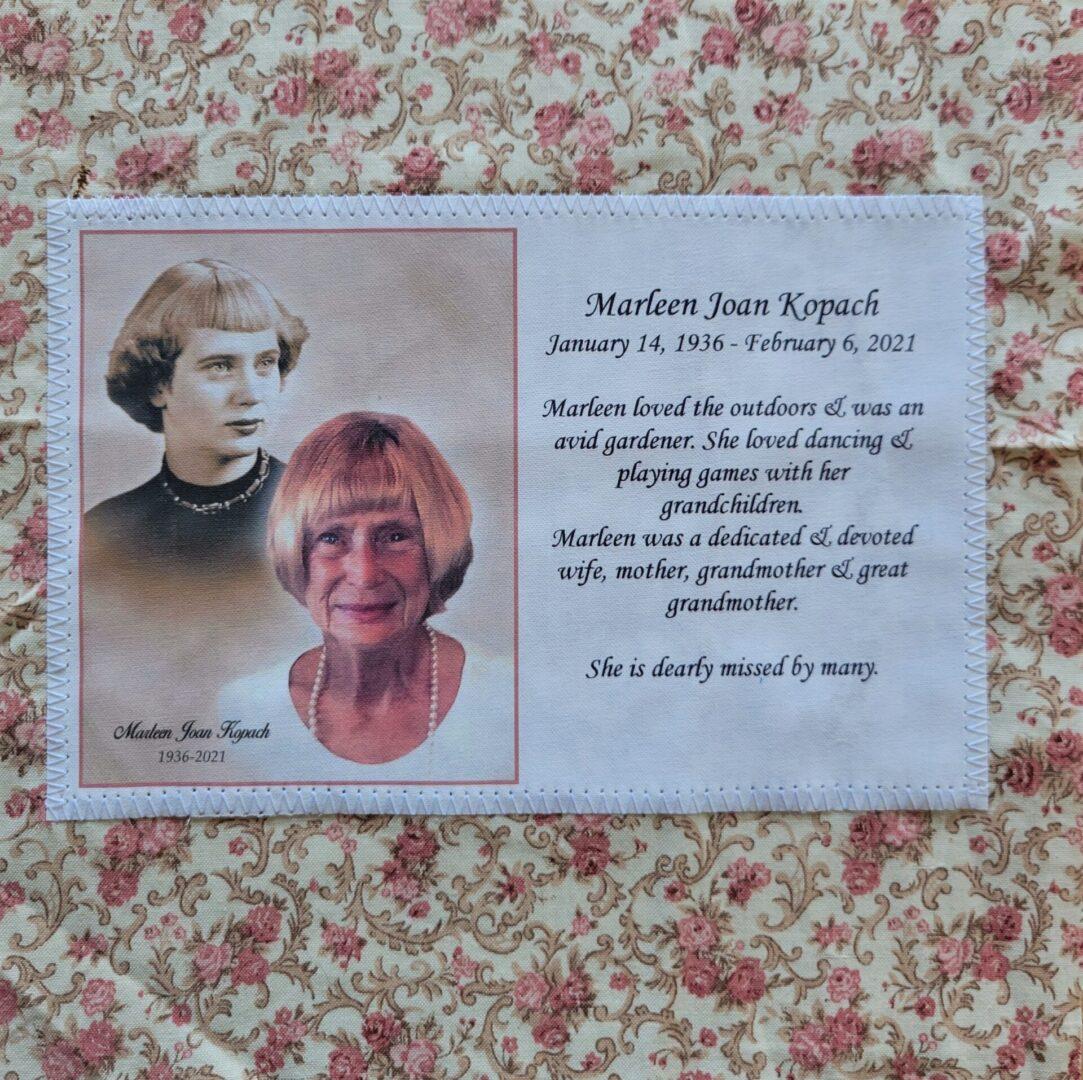 IN MEMORY OF MARLEEN JOAN KOPACH - JAN. 14, 1936 - FEB. 6, 2021