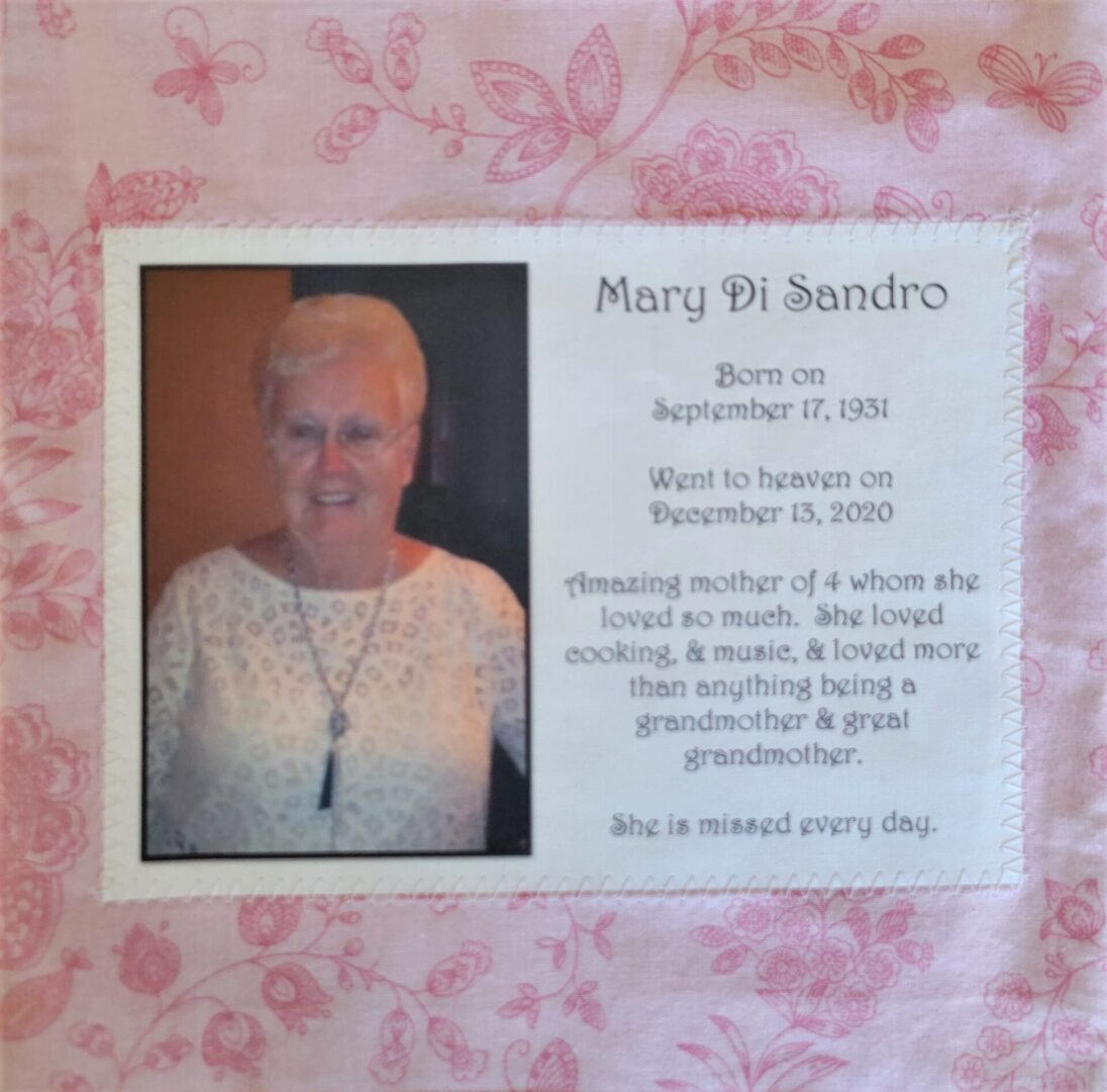 IN MEMORY OF MARY A. DI SANDRO - SEPTEMBER 17, 1931 - DECEMBER 13, 2020