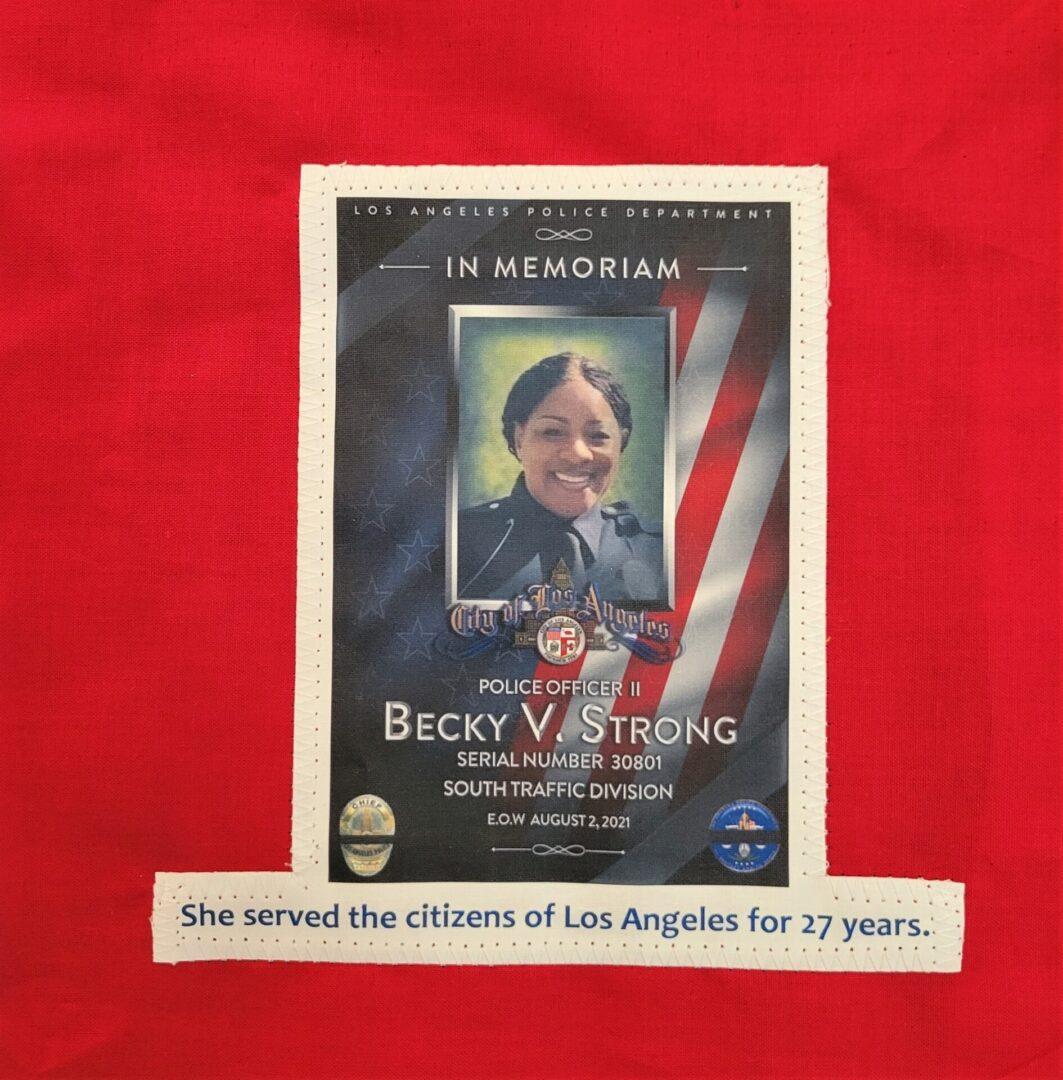 IN MEMORY OF OFFICER BECKY V. STRONG - AUGUST 2, 2021