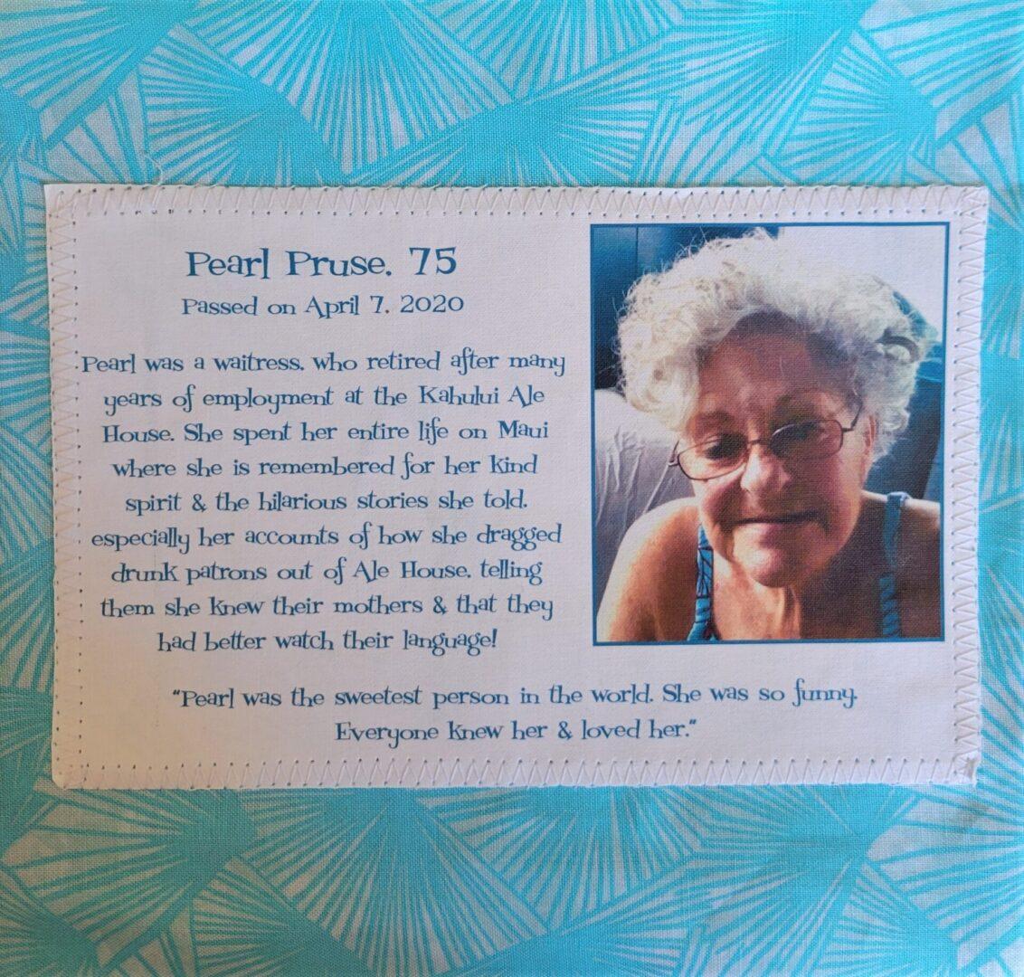 IN MEMORY OF PEARL PRUSE - APRIL 7, 2020