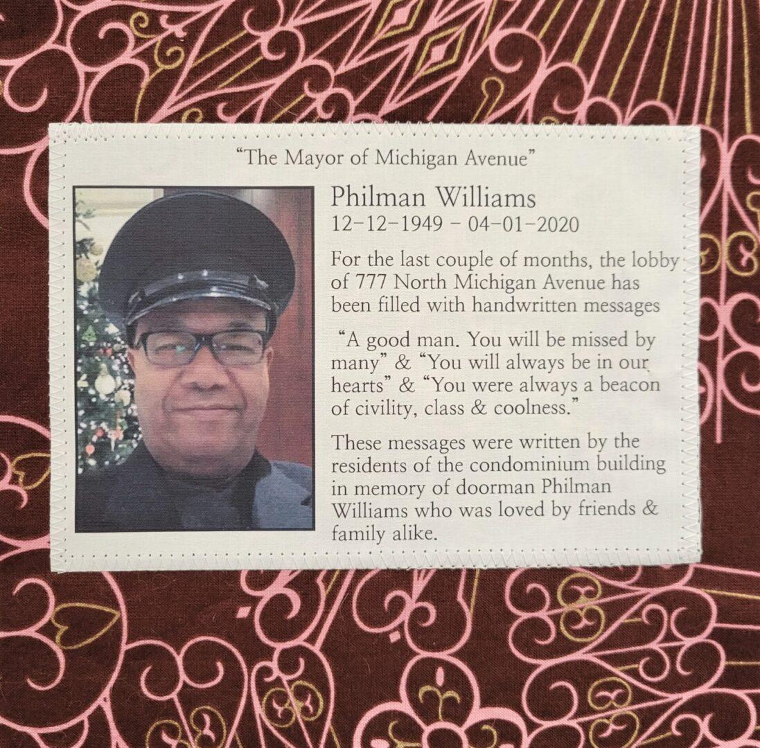 IN MEMORY OF PHILMAN WILLIAMS - 12/12/1949 - 04/01/2020