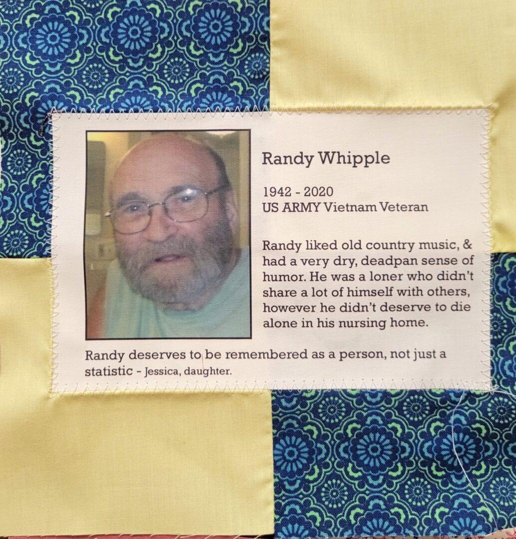 IN MEMORY OF RANDY WHIPPLE - 1942 - 2020