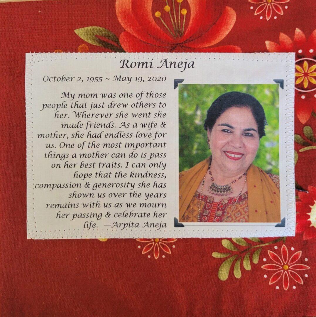 IN MEMORY OF ROMI ANEJA - OCTOBER 2, 1955 (INDIA) - MAY 19, 2020