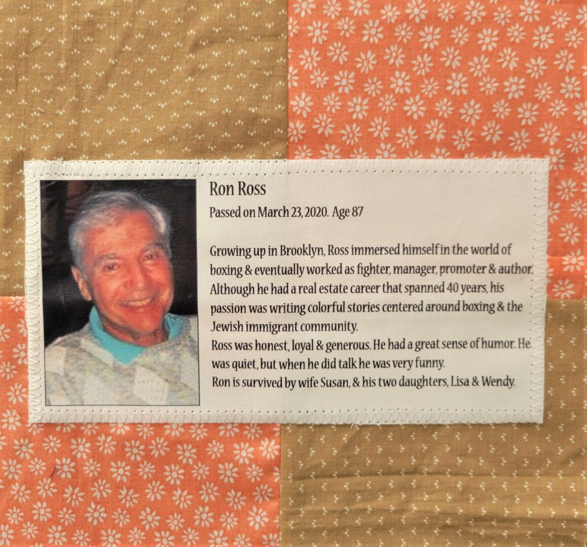 IN MEMORY OF RON ROSS - MARCH 23, 2020