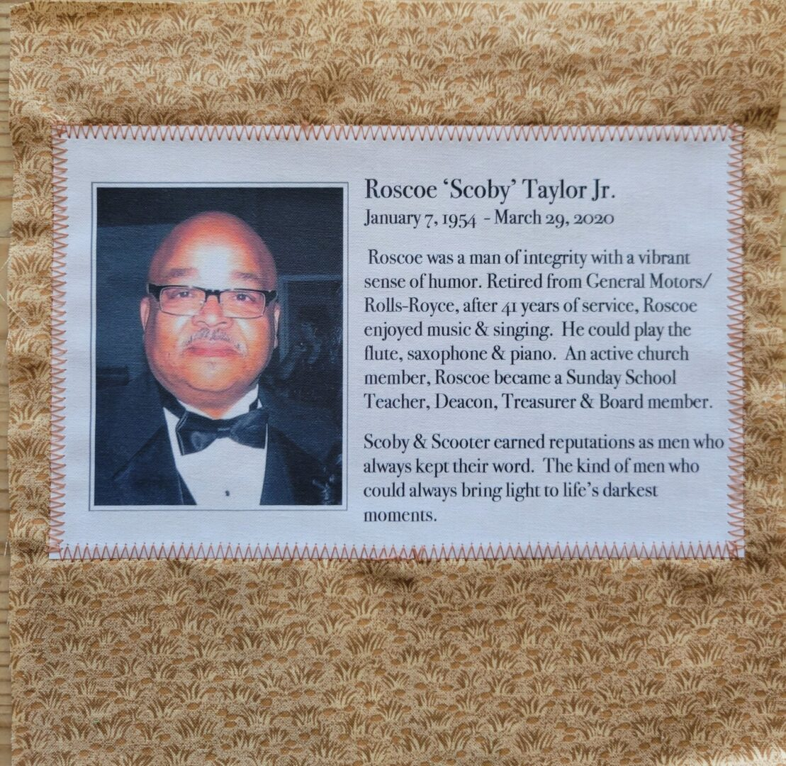 IN MEMORY OF ROSCOE 'SCOBY' TAYLOR, JR - JAN 7, 1954 - MARCH 29, 2020