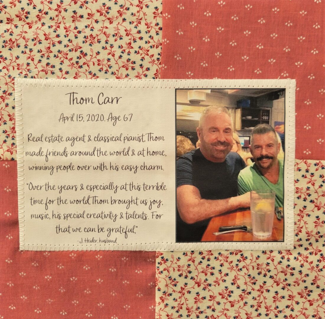 IN MEMORY OF THOM CARR (LEFT) - APRIL 15, 2020