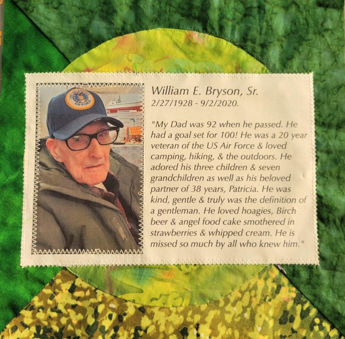 IN MEMORY OF WILLIAM E. BRYSON, SR. - 2/27/1928 - 9/2/2020