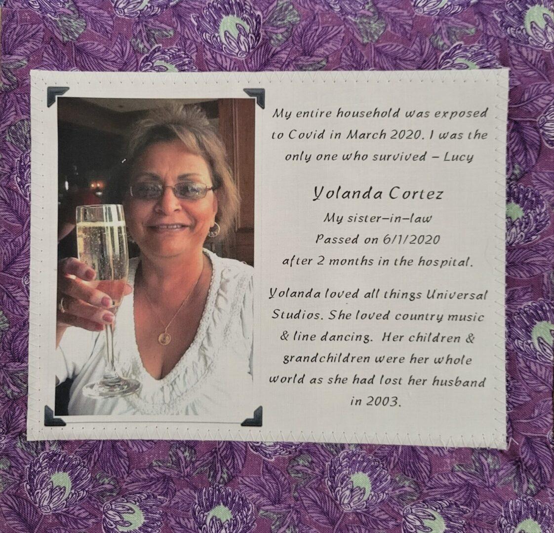 IN MEMORY OF YOLANDA CORTEZ - 6/1/2020