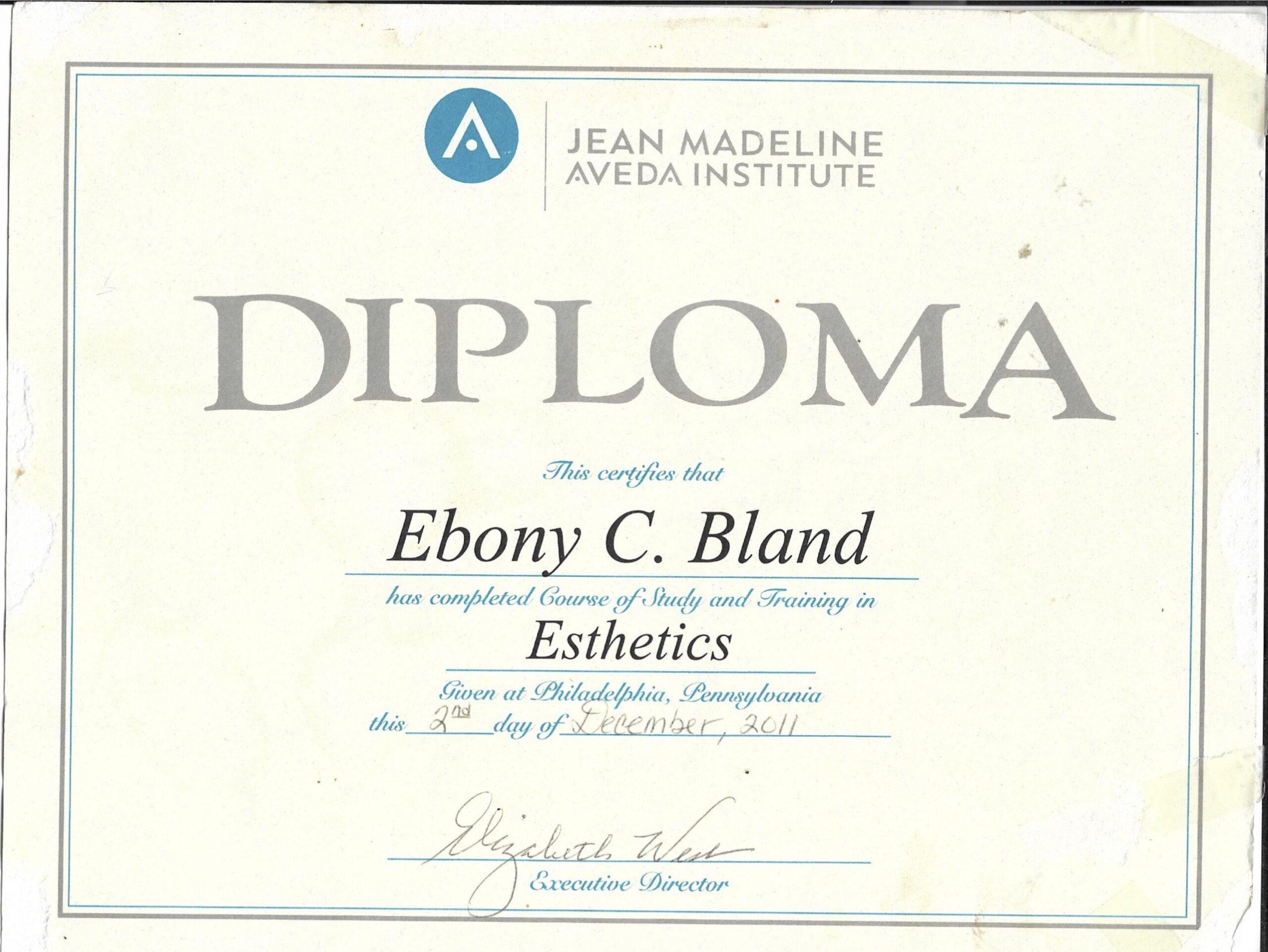 Esthetics Diploma Jean aveda