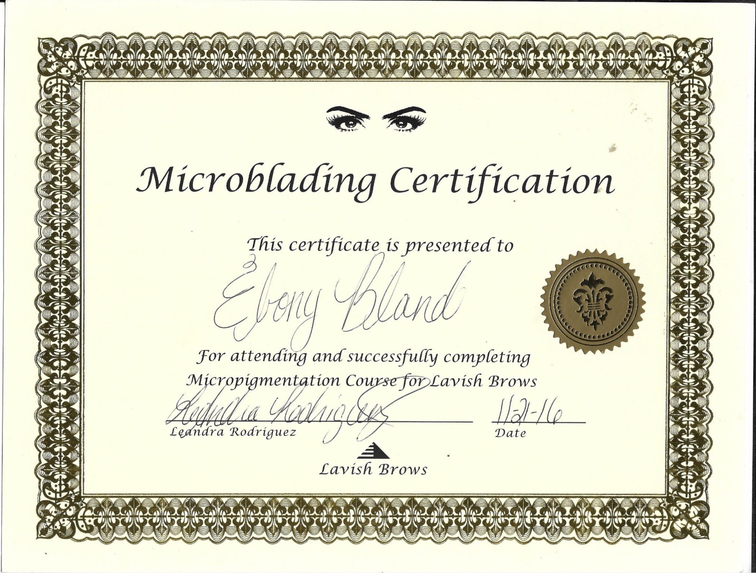 Micro blading Certificate