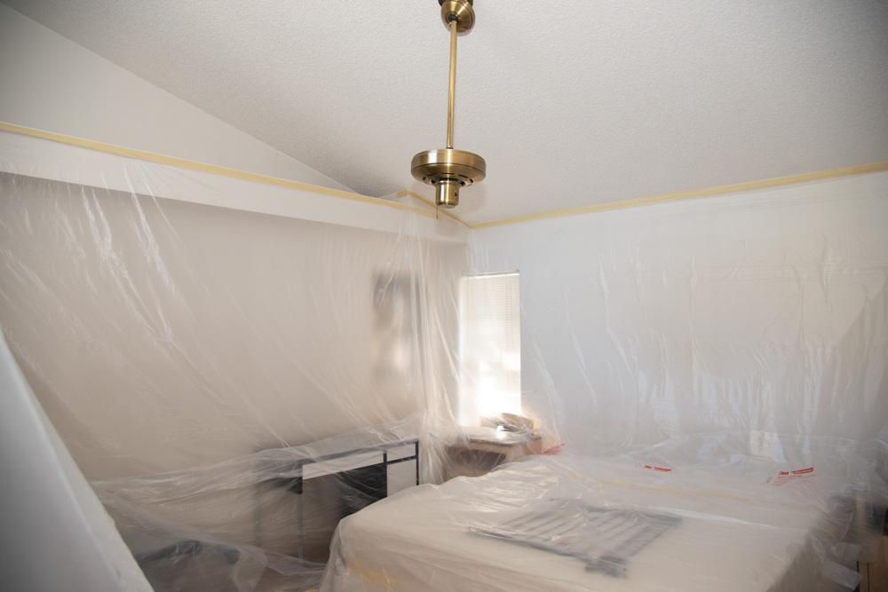 Room Draped with Drop Cloth