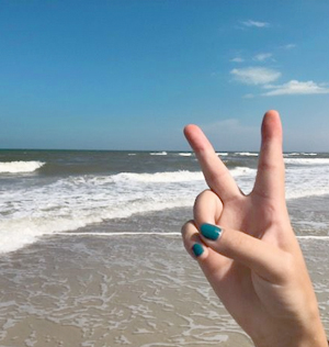 Peace symbol at the beach
