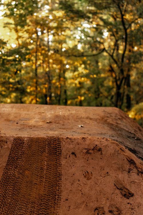 Bike tire marks on table top on trail