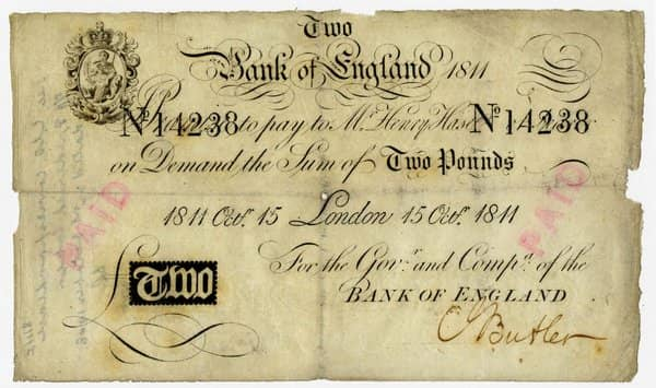 Bank of England 2 Pound Note