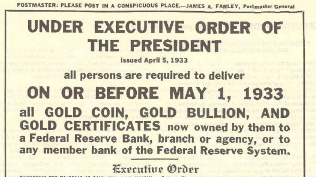 Executive Order Bullion Sale Notice