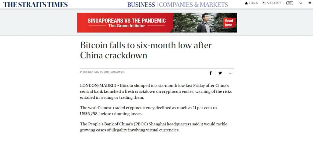 Bitcoin Falls After Chines Crackdown
