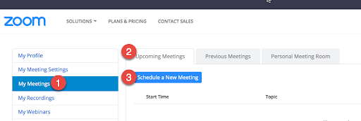 Setup Zoom Meetings from Web Browser