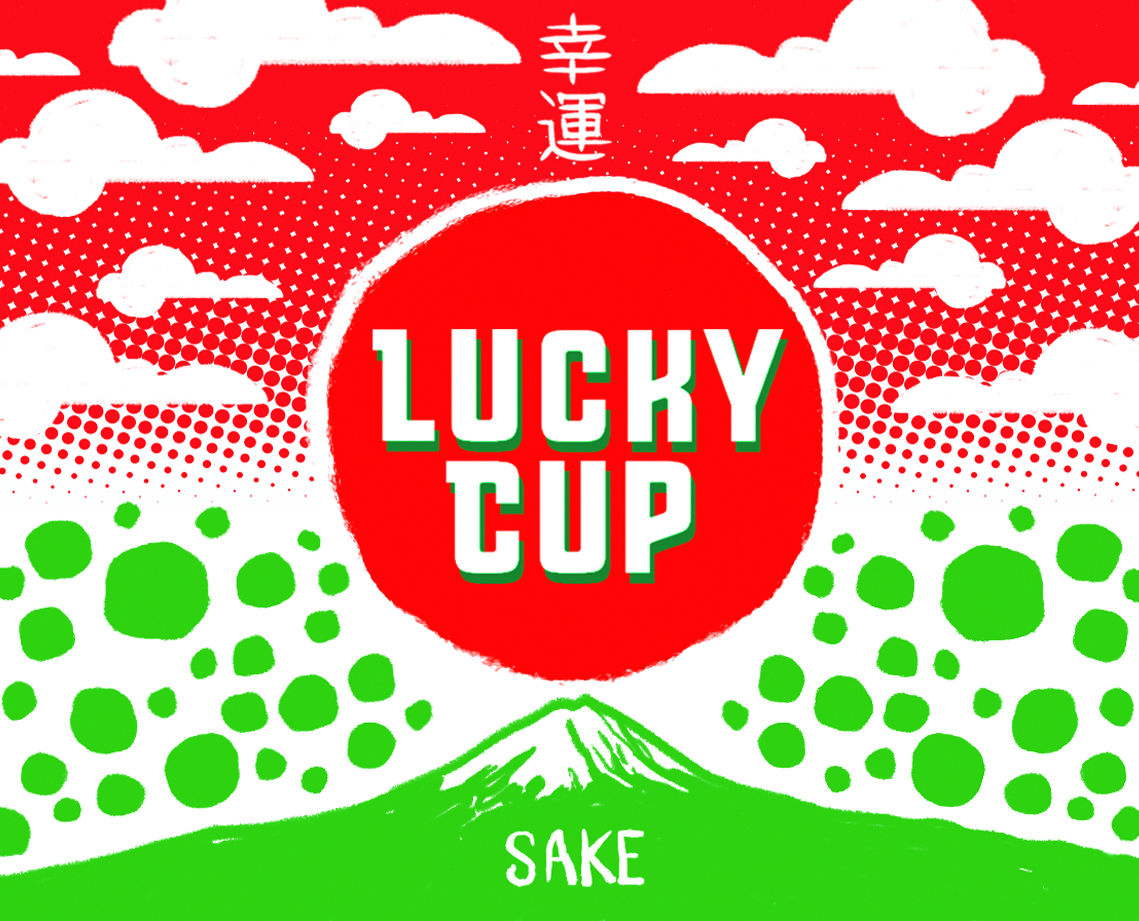 Lucky Cup Sake Label