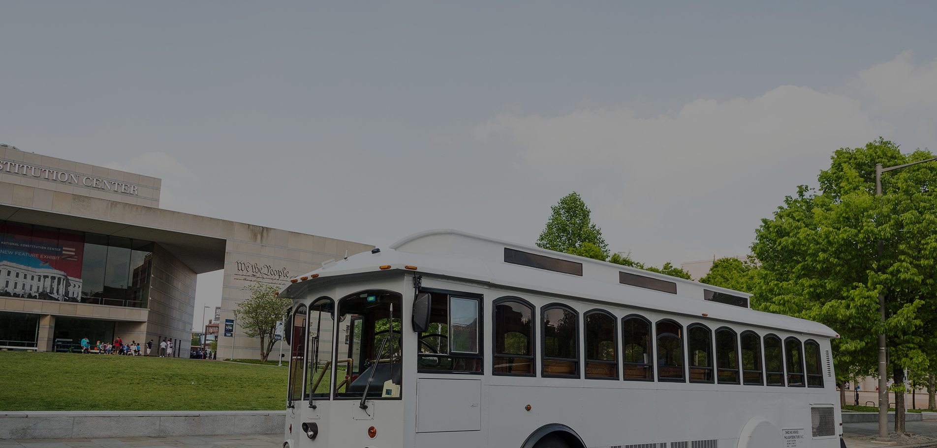 Wedding Trolley Rental White out front of Constitution Center Philadelphia PA