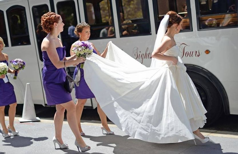 Bride Wedding Dress White flower girl maid of honor purple dress silver shoes white shoes trolley philadelphia just married wedding day rental hotel pickup Old Fashioned Trolley wedding transportation services to/from hotel and venue