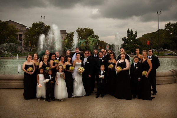 large wedding party Philadelphia fountain trolley rental black happy flowers art museum spring