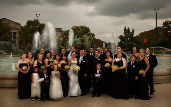 large wedding party Philadelphia fountain trolley rental