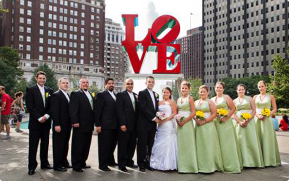 large wedding party Philadelphia love park trolley rental