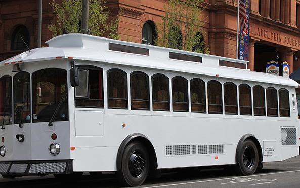White Trolley Rental Bourse Building Wedding Philadelphia Philly New Jersey Delaware