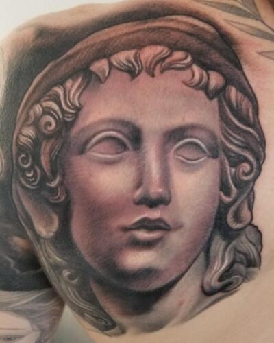 Scott Ford Tattoos - statue tattoo