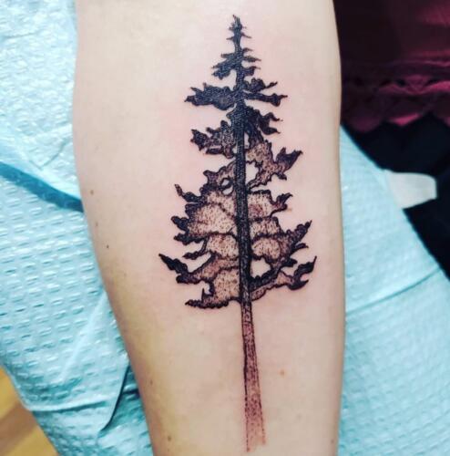 Kimberly Brumble Tattoos - tree silhouette tattoo