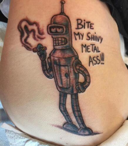 Mike Peace Tattoos - bender futerama tattoo