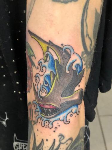 Dylan Llewellyn Tattoos -  hammer head shark