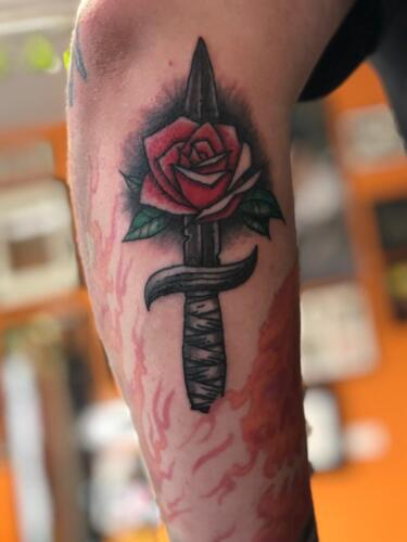 Dylan Llewellyn Tattoos -  dagger and rose