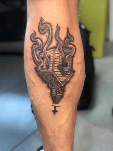 Dylan Llewellyn Tattoos -  burning church