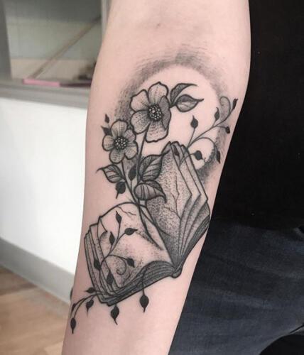 Katina Sceffler Tattoos - book with flowers