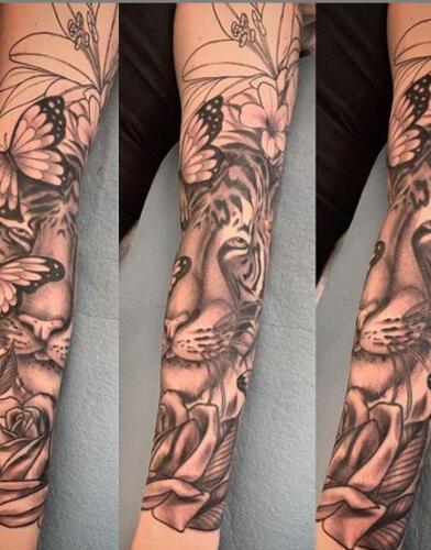 Katina Sceffler Tattoos - tiger half sleeve