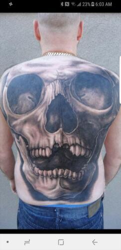 Scott Ford Tattoos - skull back piece