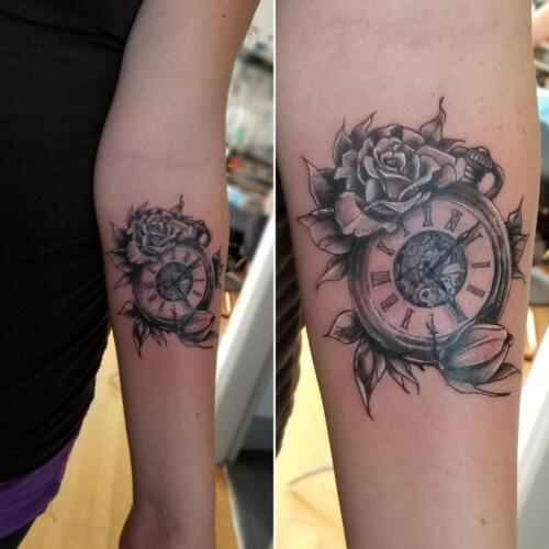 Tattoos by Tymm Cre8tions - black and grey pocket watch and rose tattoo