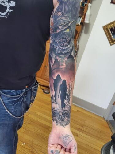 Tattoos by Tymm Cre8tions - black work sleeve full cover up tattoo