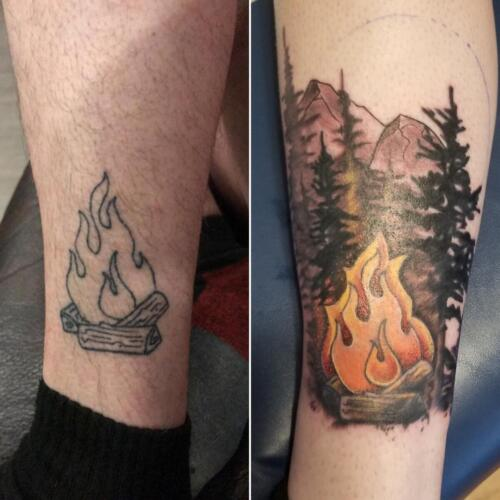Tattoos by Tymm Cre8tions - camping fire tattoo rework
