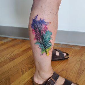 Tattoos by Tymm Cre8tions - feather watercolor tattoo