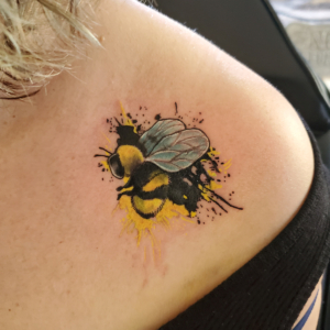 Tattoos by Tymm Cre8tions - paint splash bumble bee tattoo