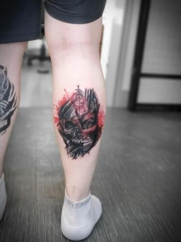 Tattoos by Tymm Cre8tions - skull and face trash polka tattoo