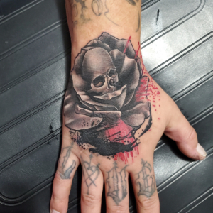 Tattoos by Tymm Cre8tions - skull and rose hand tattoo