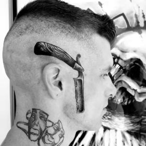 Tattoos by Tymm Cre8tions - straight razor head tattoo