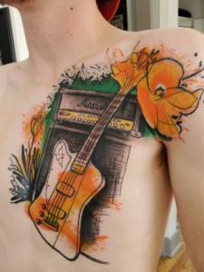 Tattoos by Tymm Cre8tions - trash polka guitar music tattoo