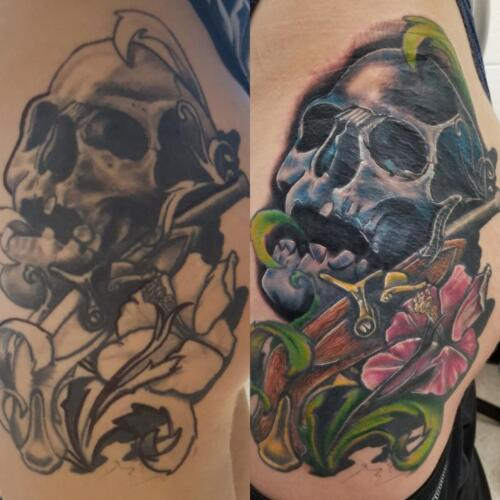 Tattoos by Tymm Cre8tions - womans thigh tattoo skull rework