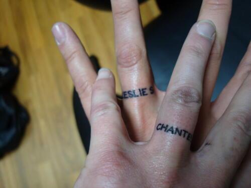 rings, finger tattoo